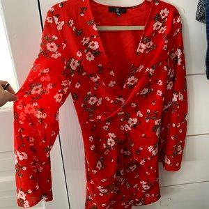 Red Floral Kimono Dress